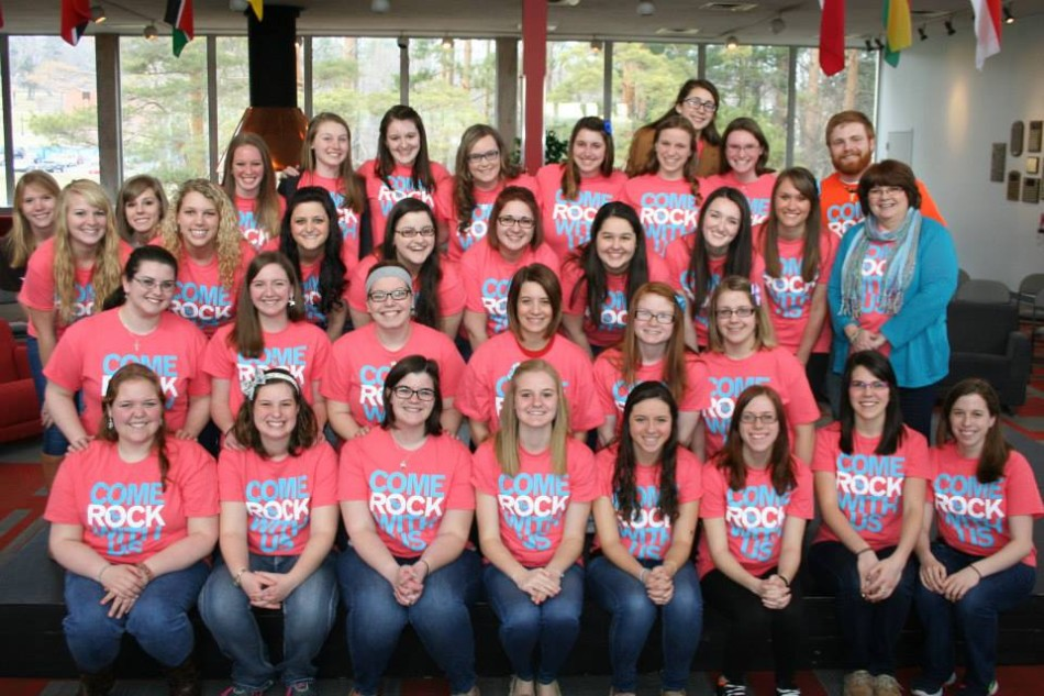 Sisters+of+service+sorority+Gamma+Sigma+Sigma+pose+at+their+Rock-A-Thon+event.
