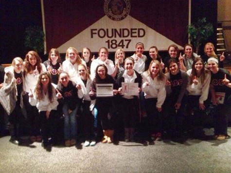 Delta Phi Epsilon wins first place in Greek Week for the sororities.