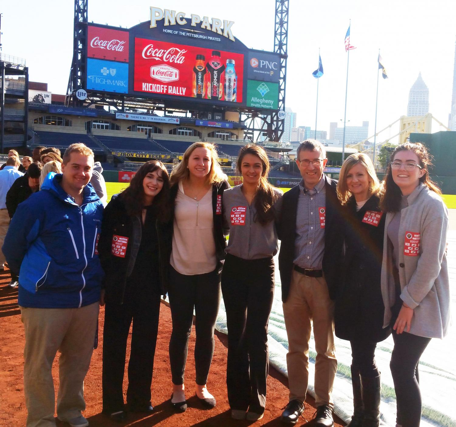 Communications students Andrew Nash, Anna Baughman, Haley Thomas, Marina Misitano and Olivia Ford and Drs. Pat Farabaugh and Kelly Rhodes enjoy PNC field.