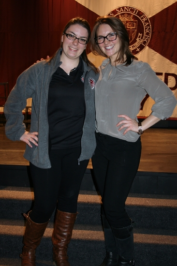 Girls Fight Back presenter Swarts (right) poses with SGA senator Kylie Connor (left).