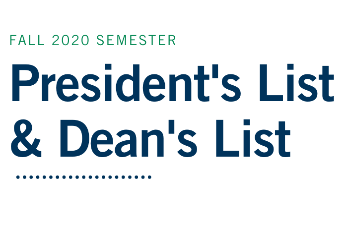 University Announces President's List and Dean's List Honorees